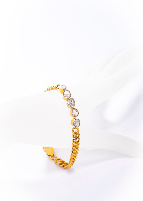 "Gold Plate over Sterling Silver Curb Chain Rose Cut Diamond Bracelet (1.5C) (7"") #2878-Bracelets-Gretchen Ventura"