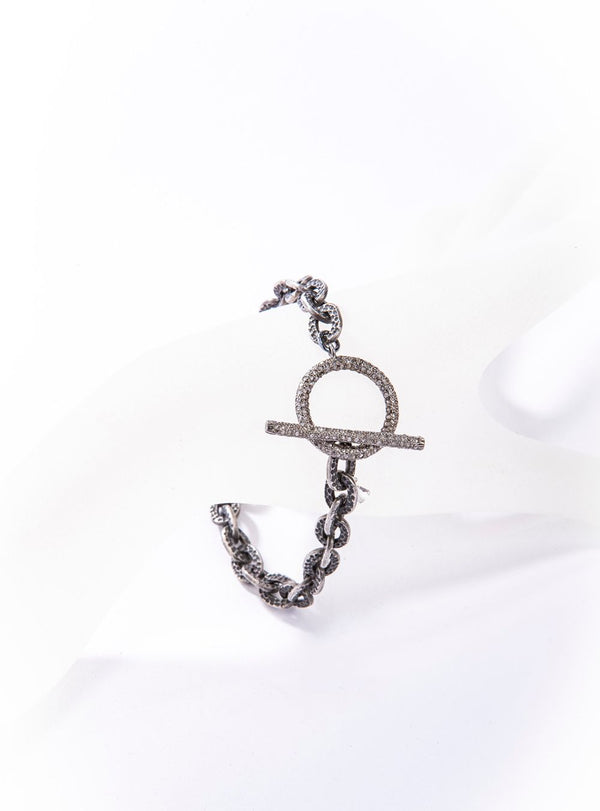 Rhodium Plated Sterling GV Chain w/ Pave Diamond Toggle Clasp Bracelet #2874-Bracelets-Gretchen Ventura