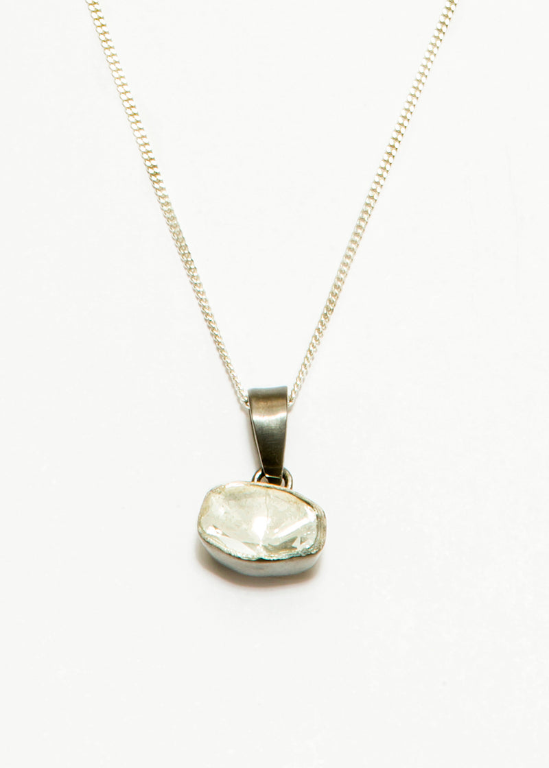 Single Rose Cut Diamond (.45C) in Rhodium Plated Sterling #9393-Necklaces-Gretchen Ventura