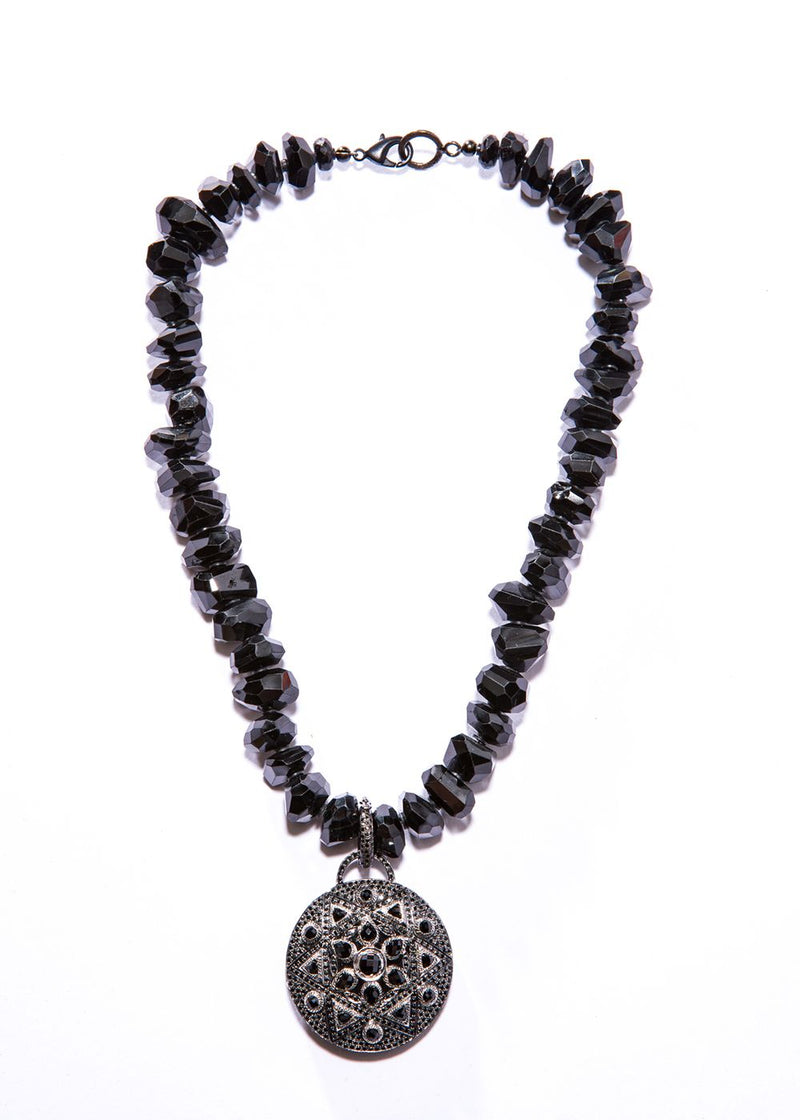 "Handcut Faceted Black Spinel w/ Oxidized Sterling Silver & Black Spinel Pendant (17"" + 2.25"")"