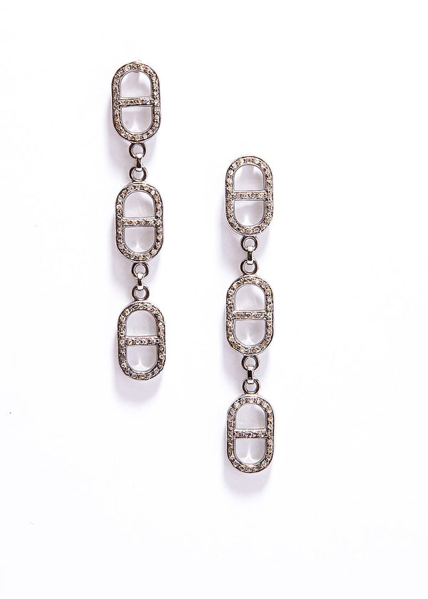 "Diamond Pave Sterling ""H"" 3 Link Chain earring (2.5"") #3485-Earrings-Gretchen Ventura"