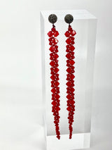 "Faceted Swarovski Crystal Macramé earrings on Diamond Posts (5.5"")#3462-Earrings-Gretchen Ventura"