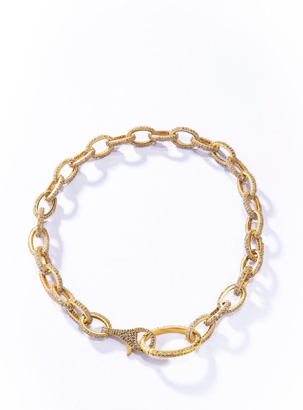 "Gold Plate over Sterling Silver Pave Diamond Link Choker (14.62C) (14.5"") #9465-Necklaces-Gretchen Ventura"