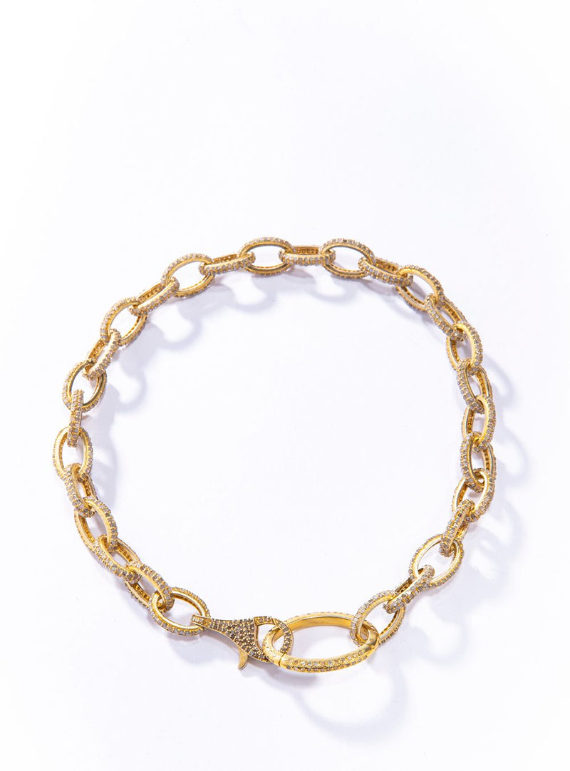 "Gold Plate over Sterling Silver Pave Diamond Link Choker (14.62C) (14.5"""") #9465-Necklaces-Gretchen Ventura"