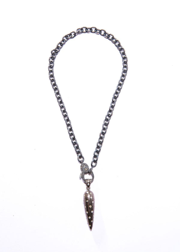 Icy Diamond & Sterling Drop w/ Rhodium Plated Sterling Chain w/ Diamond Lobster Claw Clasp #9252-Necklaces-Gretchen Ventura
