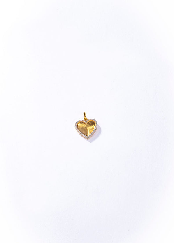 18K Matte Gold and Diamond Heart Pendant #7234-Neck Pendant-Gretchen Ventura