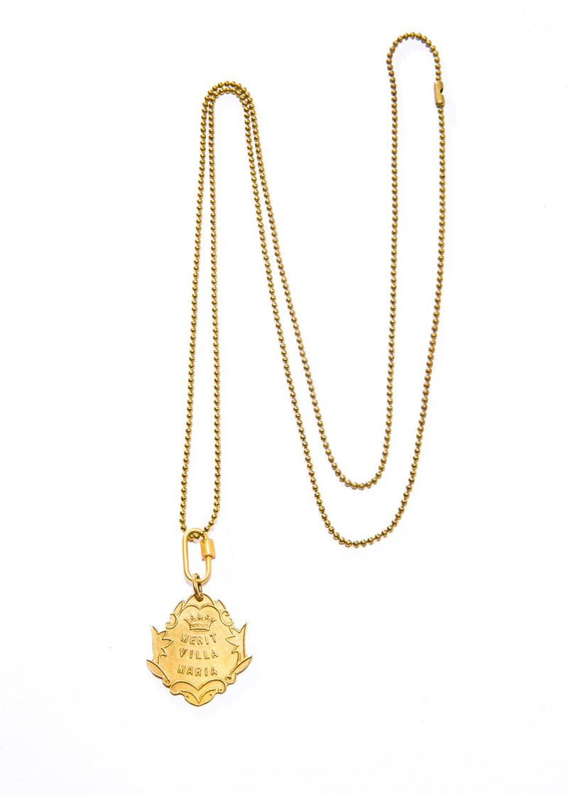 "GP Antique Villa Maria puncuality Merit Shield w/ Matte GP Caribeaner (38"" + 2"")-Necklace-Gretchen Ventura"