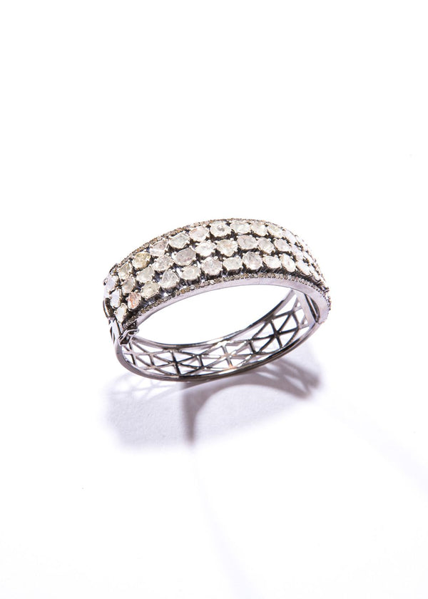 Pave Diamond and Rose Cut in Sterling Cuff (9.7C)#2861-Bracelets-Gretchen Ventura