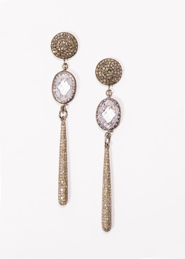 "Matte Sterling & Faceted Quartz Crystals, Diamond Drops Earrings on Diamond Post (3"")-Earrings-Gretchen Ventura"
