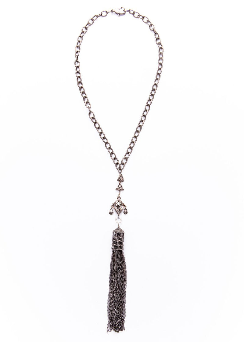 Rose Cut & Pave Diamond Cage & Sterling Chain Tassel w/ Rhodium plated Sterling Chain #9251-Necklaces-Gretchen Ventura