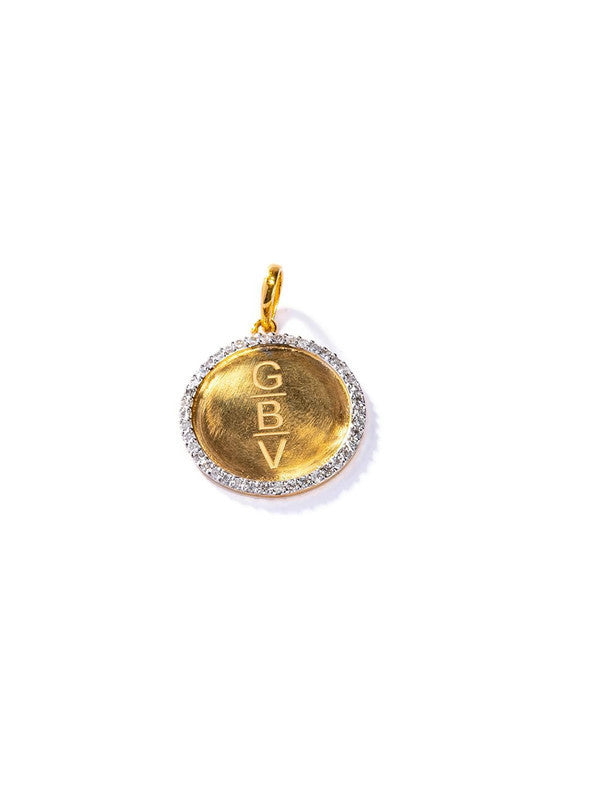 Pave Diamond & 18K Gold Disc Pendant #7235-Neck Pendant-Gretchen Ventura