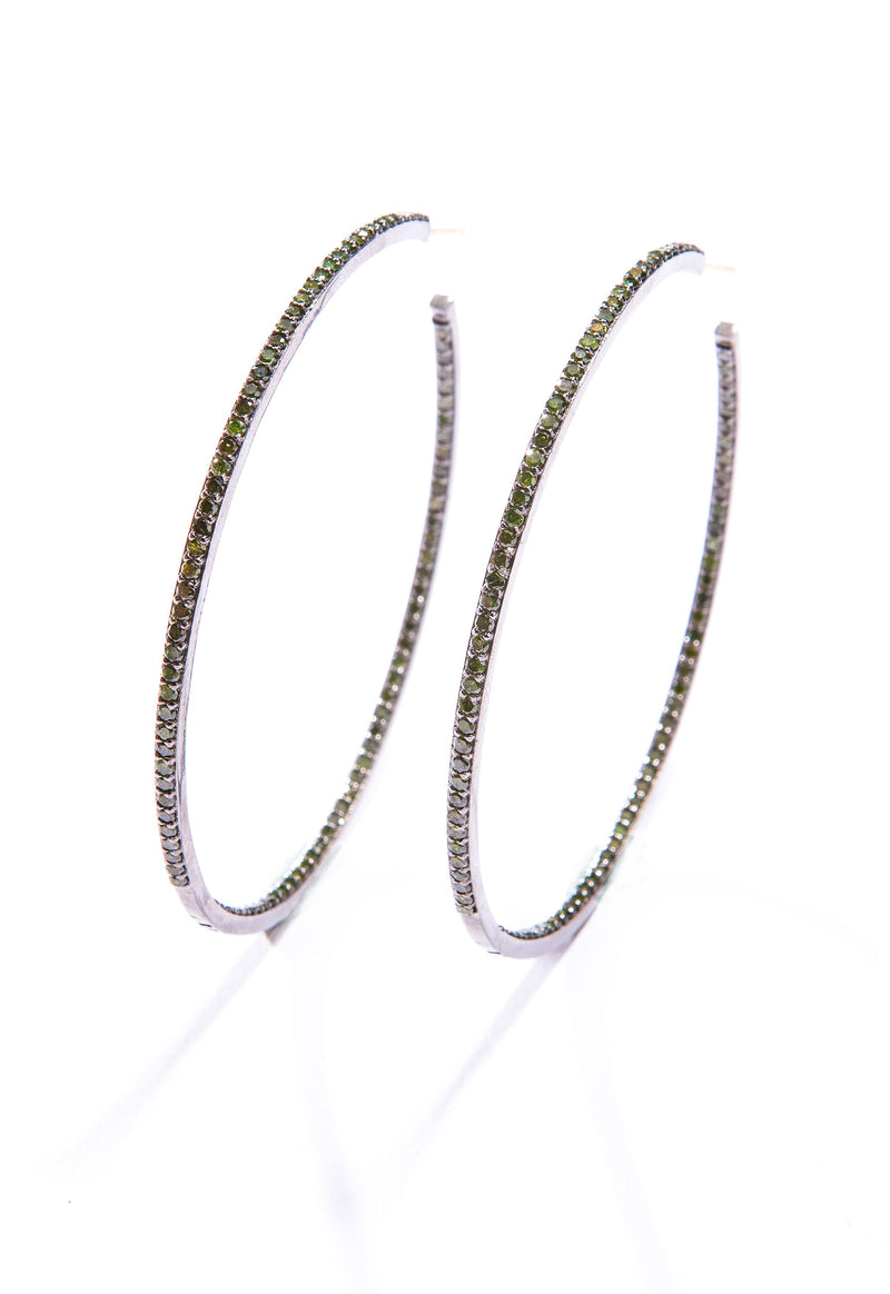 Green Diamond (3.85 C) & Sterling Hoop Earrings (60 mm) #3483-Earrings-Gretchen Ventura
