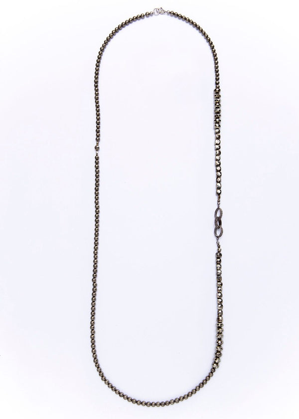 "Faceted & Round Pyrite Beads & Diamond Links 45""-Necklace-Gretchen Ventura"