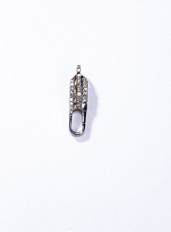 Full cull Diamond & Baguette 1-Piece Double sided Sterling Silver Connector #7631-Clasp-Gretchen Ventura