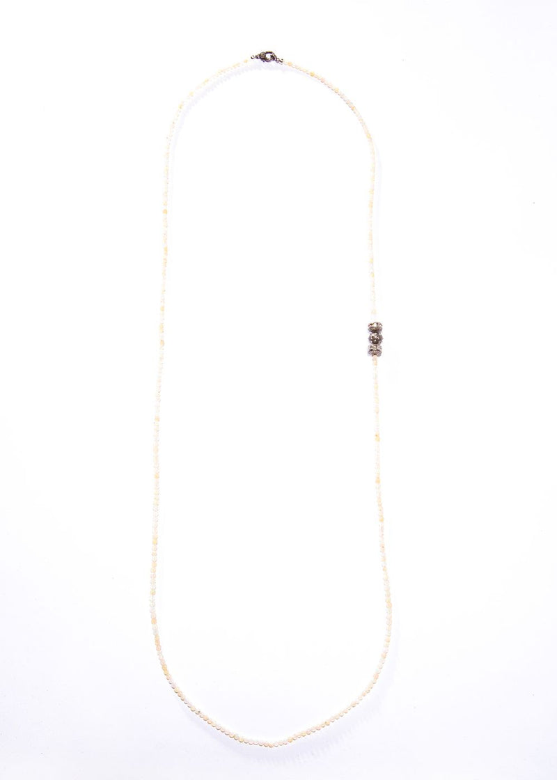 "Faceted Opal Beads w/ Pave & Baguette Diamonds (44"")-Necklace-Gretchen Ventura"