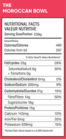 Nutritional Info Morrocan Bowl