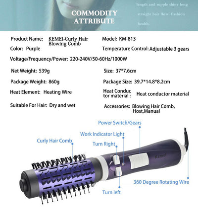 HAIR CURLING AND DRYER BRUSH