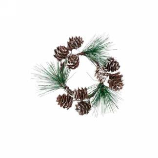 2''candle ring with pinecones
