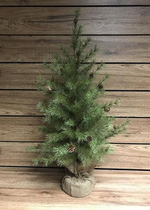 "36"" Pine tree with pinecones & burlap base"