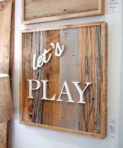 Lets Play Custom Barn Board Sign