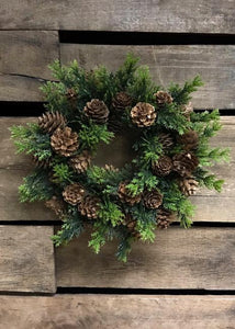 "6"" Candle ring with pinecones"