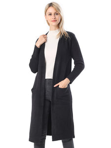 Black open front cardigan-ONE SIZE