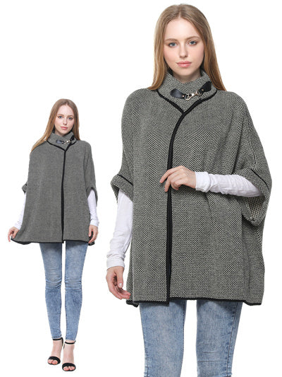 Grey & beige cape with buckle-ONE SIZE