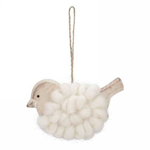 cream bird ornament