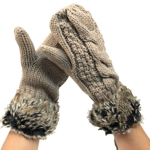 Taupe faux fur mittens
