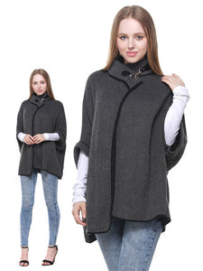 Black & grey cape with buckle