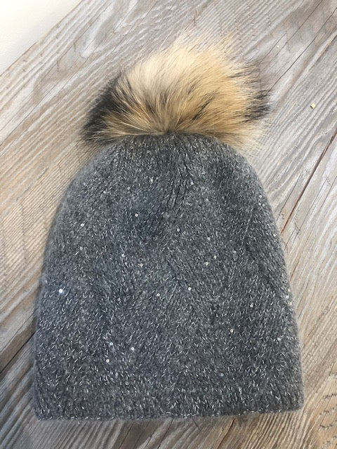 grey hat with sparkle and removable pom pom