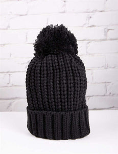 knitted black hat