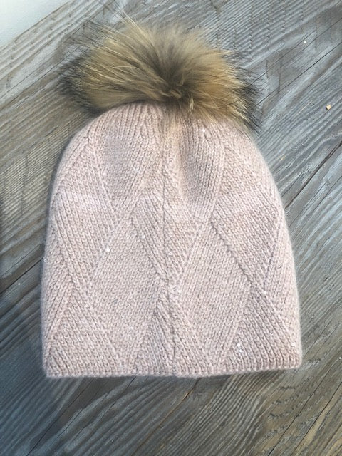 pink sparkle hat with removable pom pom