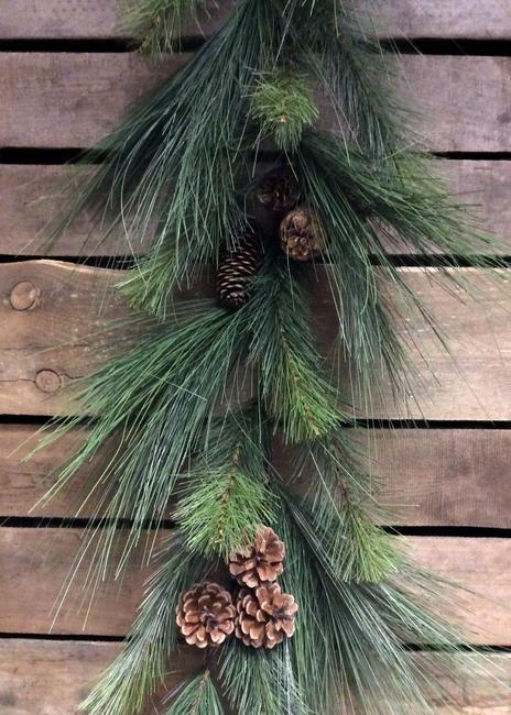 6ft garland with pinecones