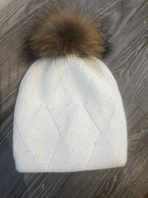 white sparkle hat with removable pom pom