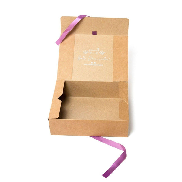 Brown kraft gift box - white or purple ribbon - mes cosmetics uk