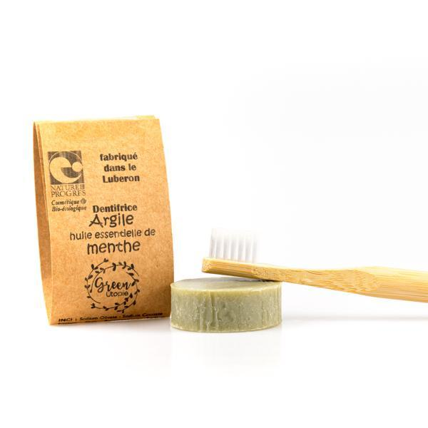 Organic solid toothpaste with clay and mint essential oil - Green Utopie - 20 gr