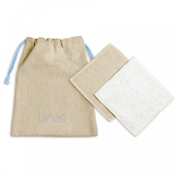 Set of 7 washable two-sided make-up removing squares - Organic Linen & Bamboo - Linaé - 11 x 11 cm