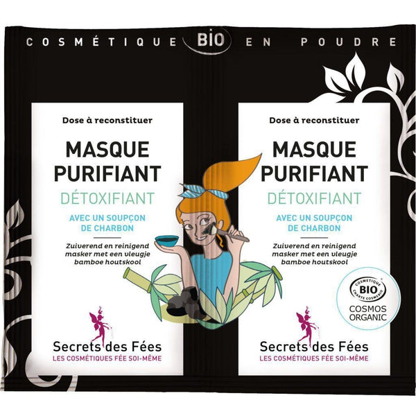 Purifying detoxifying mask with organic charcoal - Secrets des Fées - 2 doses x 8 gr