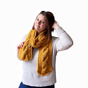 Sawyer Cabled Scarf in Mustard