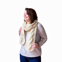 Load image into Gallery viewer, Sawyer Cabled Scarf in Cream