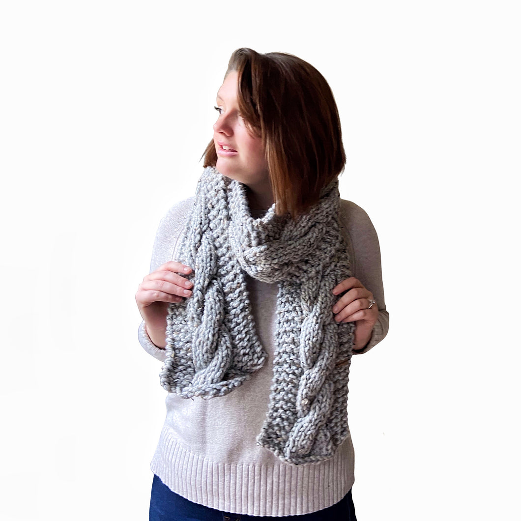 Sawyer Cabled Scarf in Gray Tweed