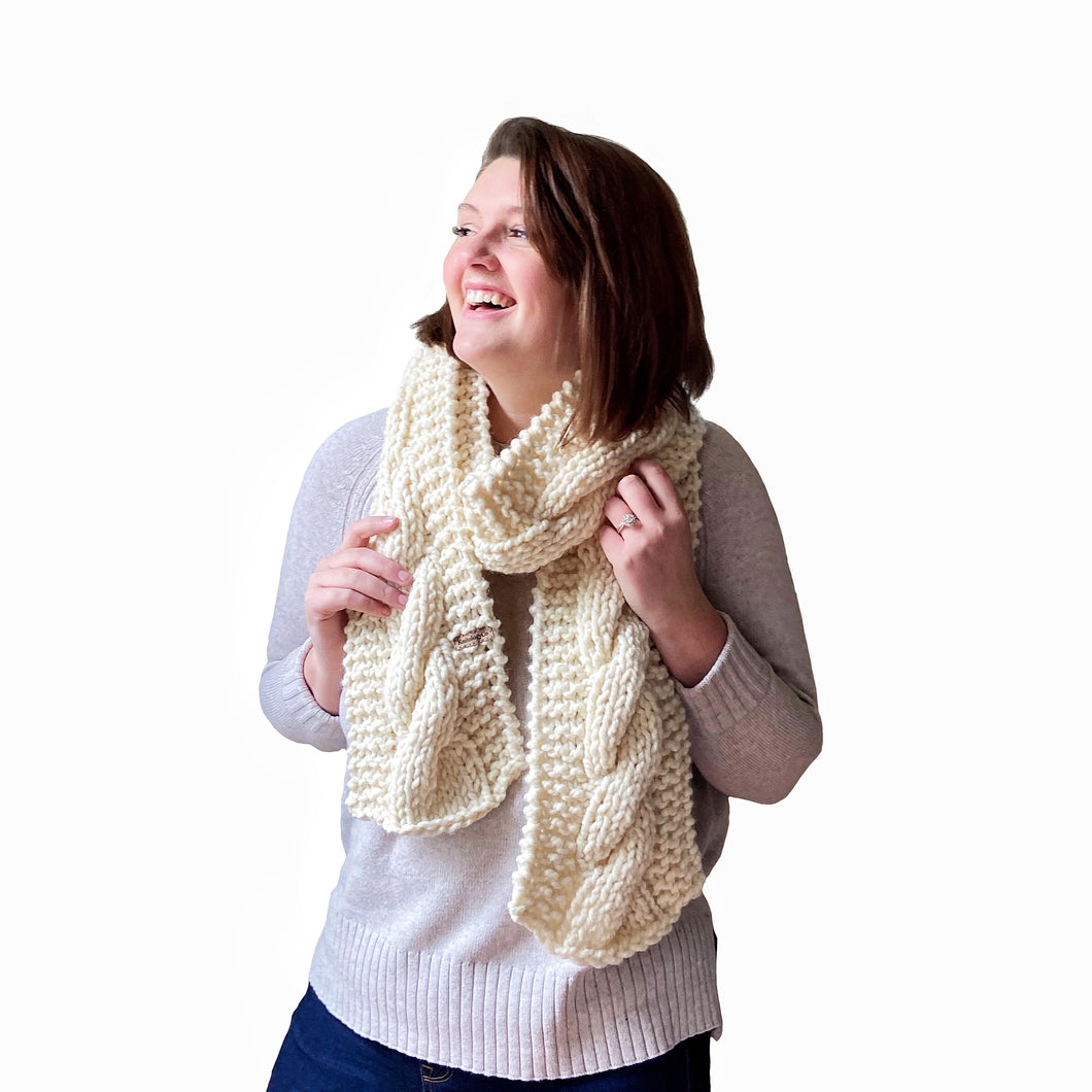 Sawyer Cabled Scarf in Cream