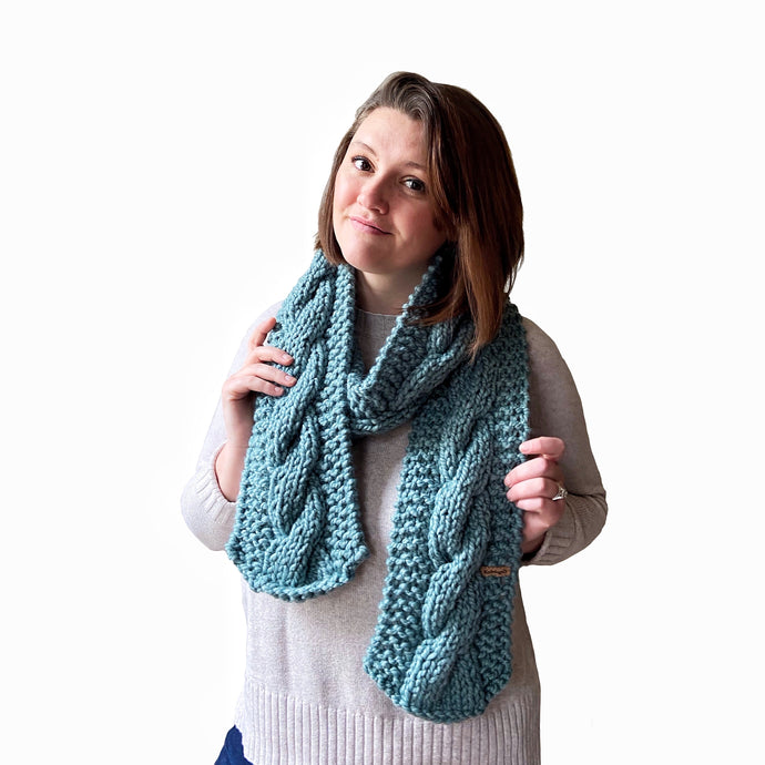 Sawyer Cabled Scarf in Seaside