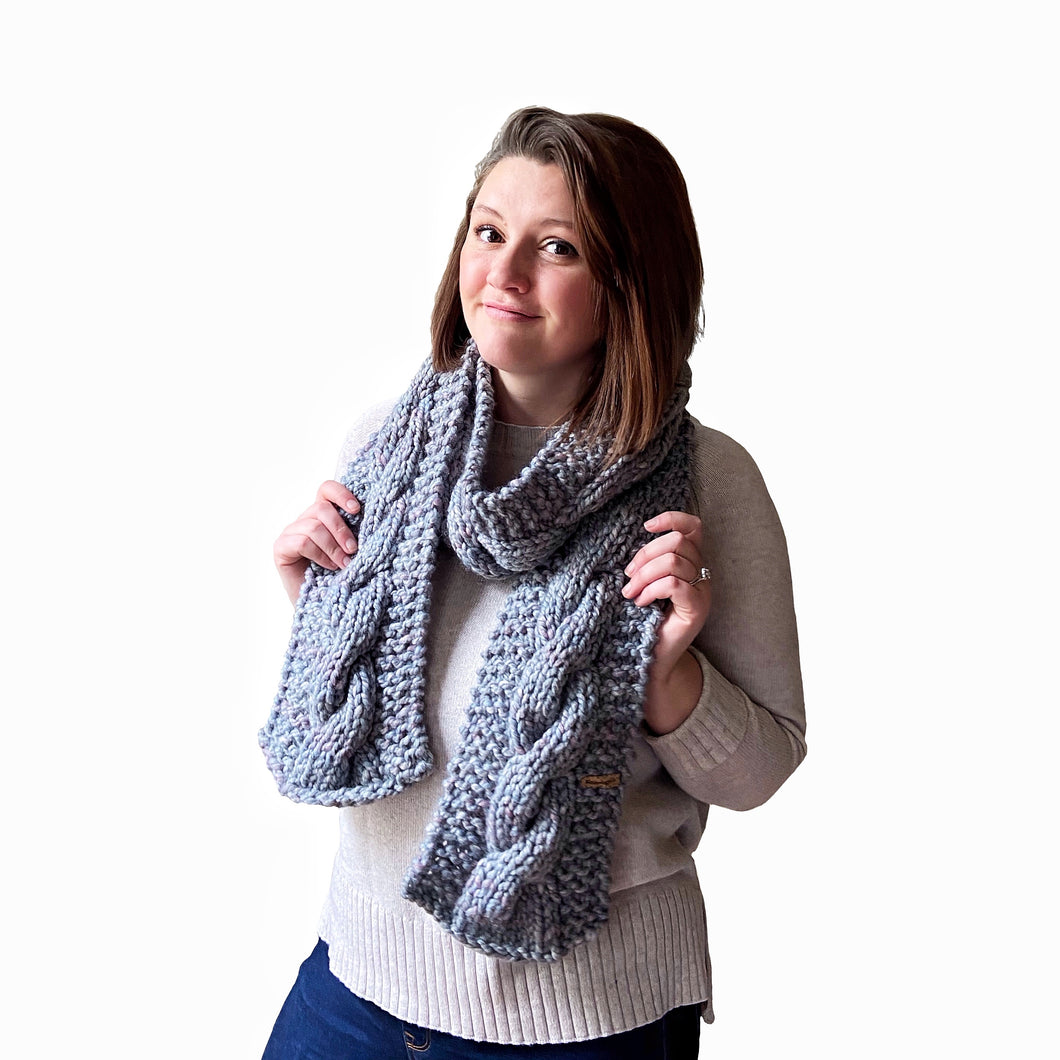 Sawyer Cabled Scarf in Stormy
