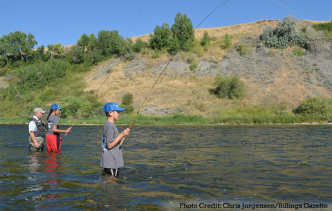 Yvon Chouinard Fishing with Crow Kids