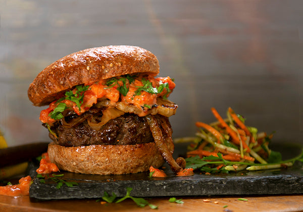 jamaican jerk bison burgers with grilled pineapple and harissa mayo
