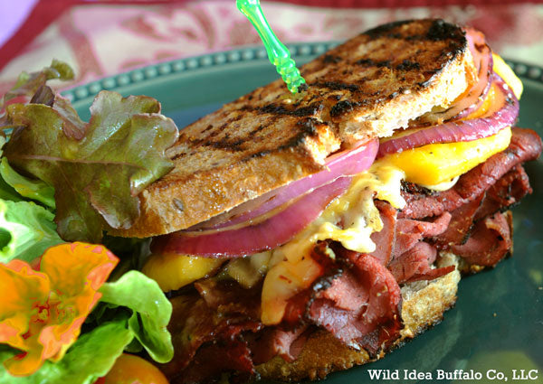Buffalo Pastrami And Peach Sandwiches With Orange Aioli