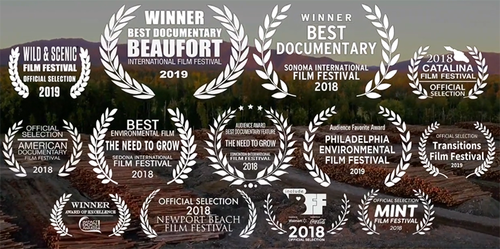 screenshot of film awards for documentary the need to grow