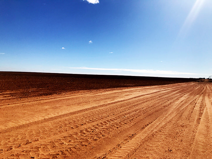 dirt road and demolished field in west texas against a blue sky backdrop